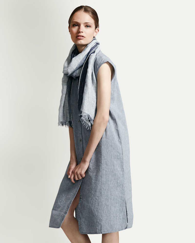Eileen Fisher Linen-Blend Cap-Sleeve Calf-Length Dress