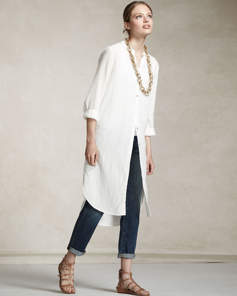 Eileen Fisher Mandarin-Collar Calf-Length Shirt