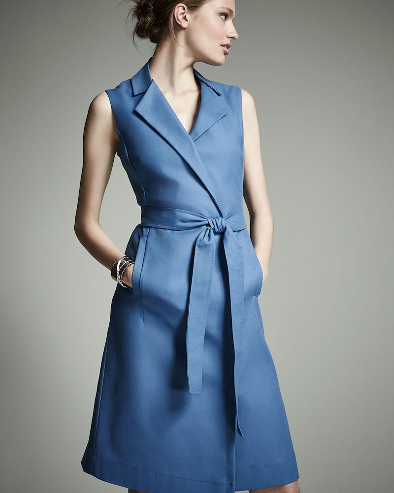 Escada Bartolini Sleeveless Belted Shirtdress