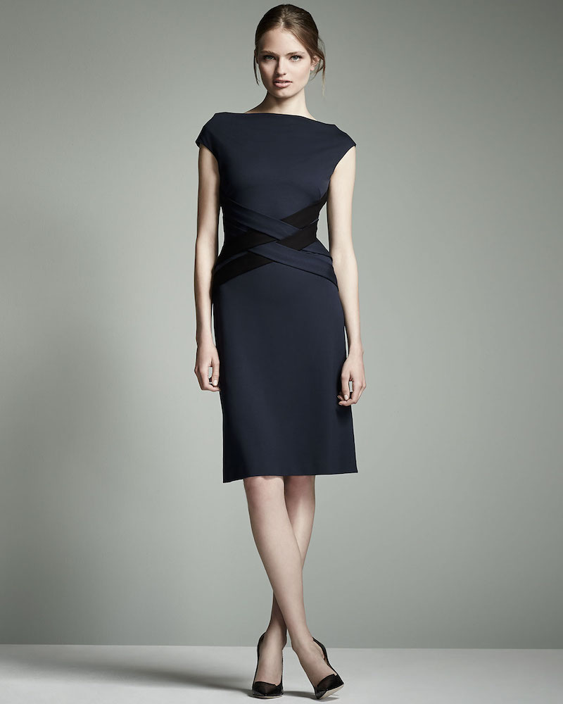Escada Cap-Sleeve Crisscross-Waist Dress