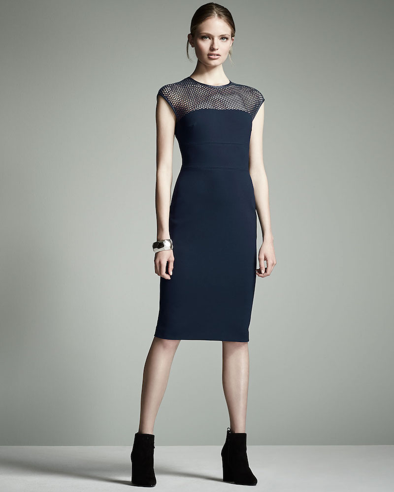 Escada Honeycomb-Top Jersey Sheath Dress