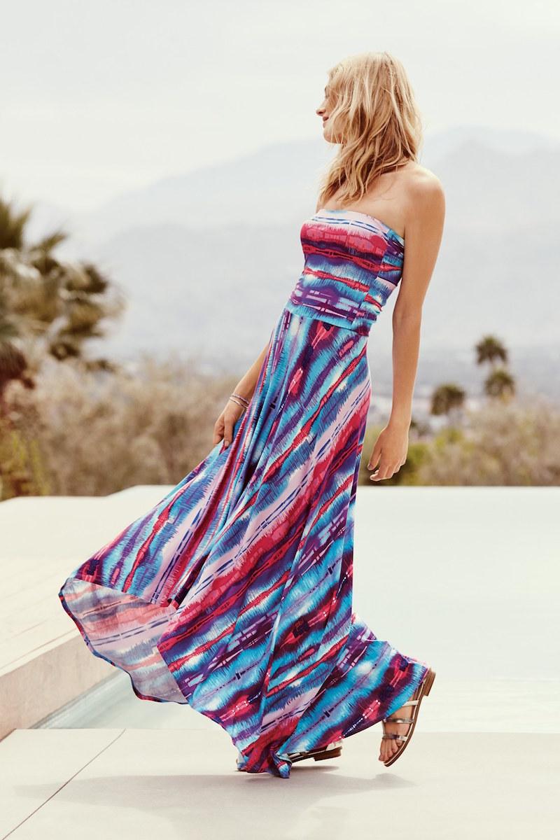 FELICITY & COCO Strapless Neon Print Maxi Dress