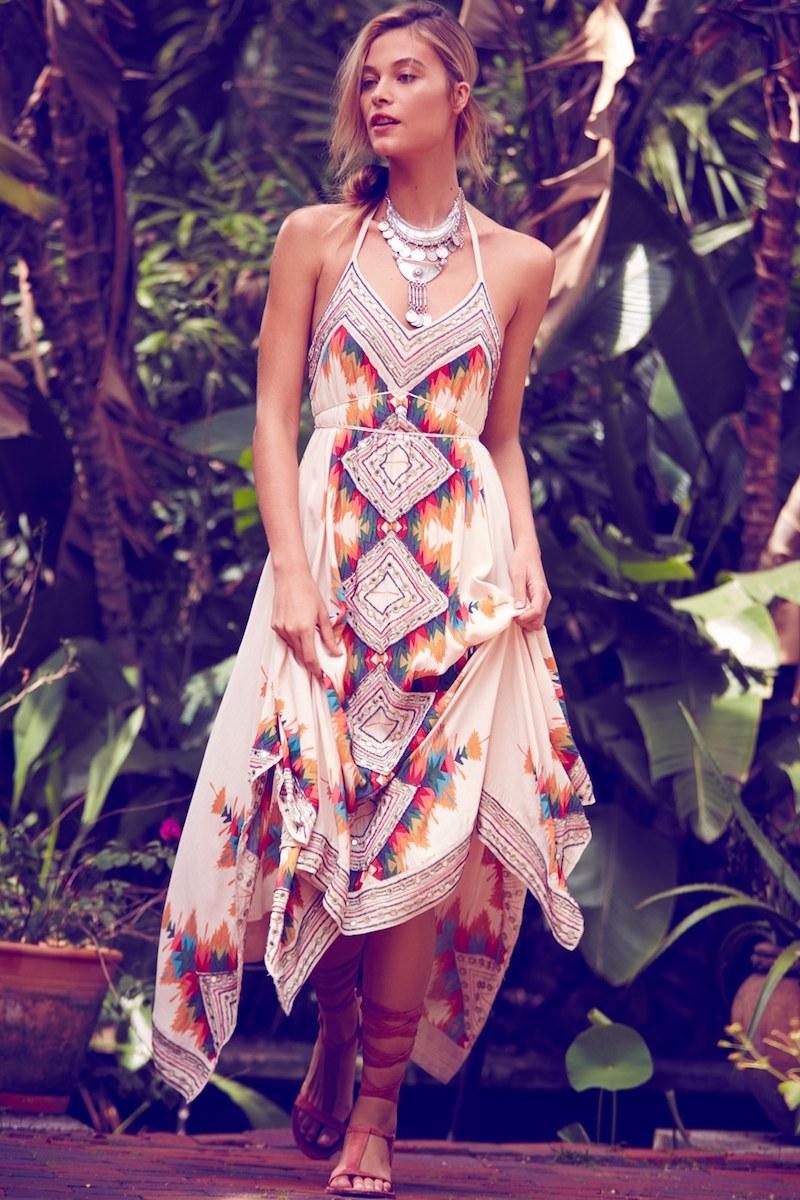 Free People Ibiza Embellished Halter Maxi Dress