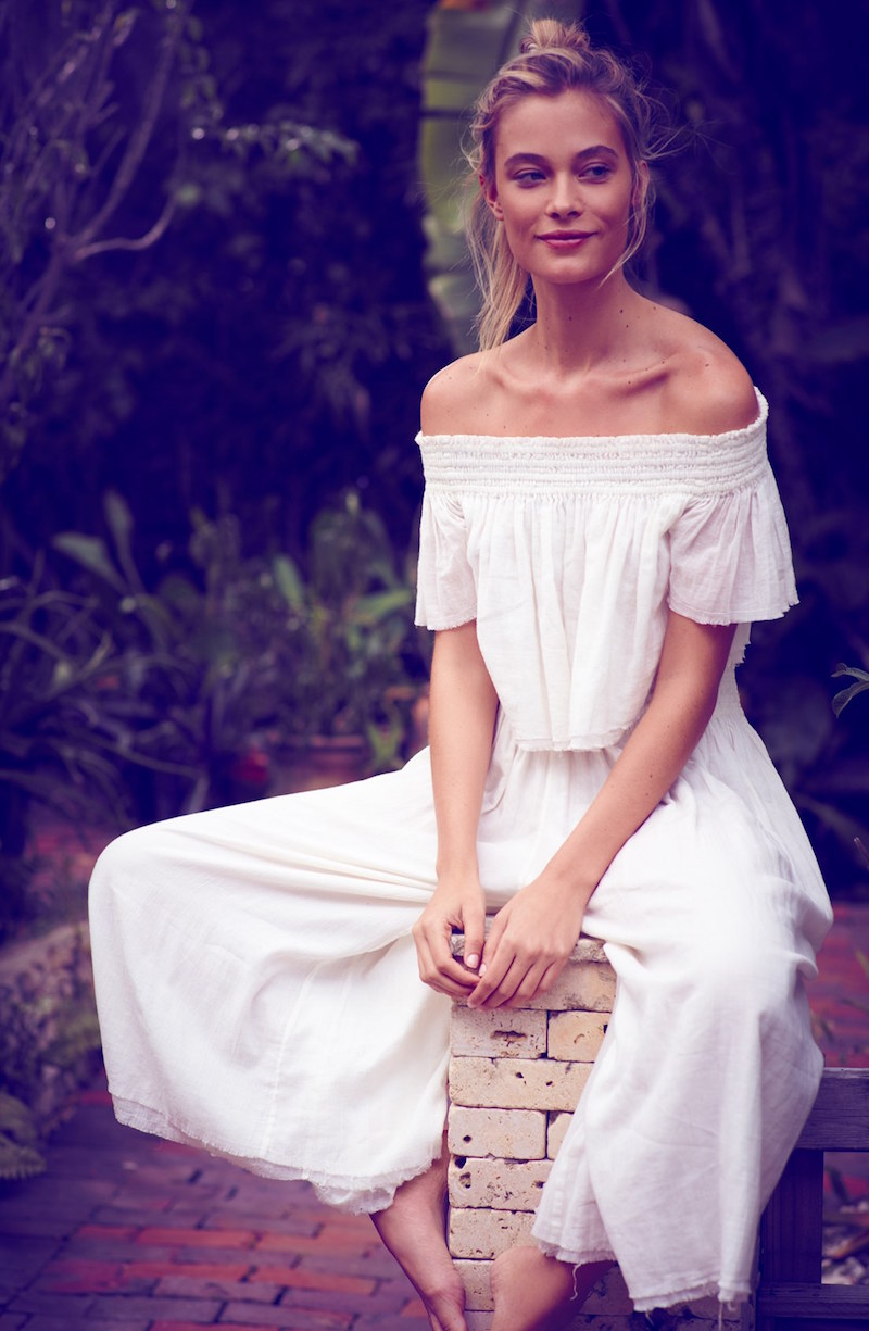 Free People Miss Stella Off the Shoulder Crop Top & Culottes
