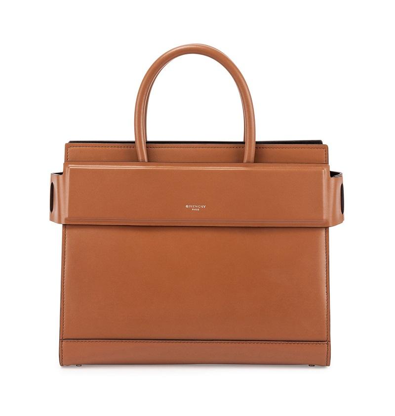 Givenchy Horizon Medium Leather Satchel Bag, Caramel