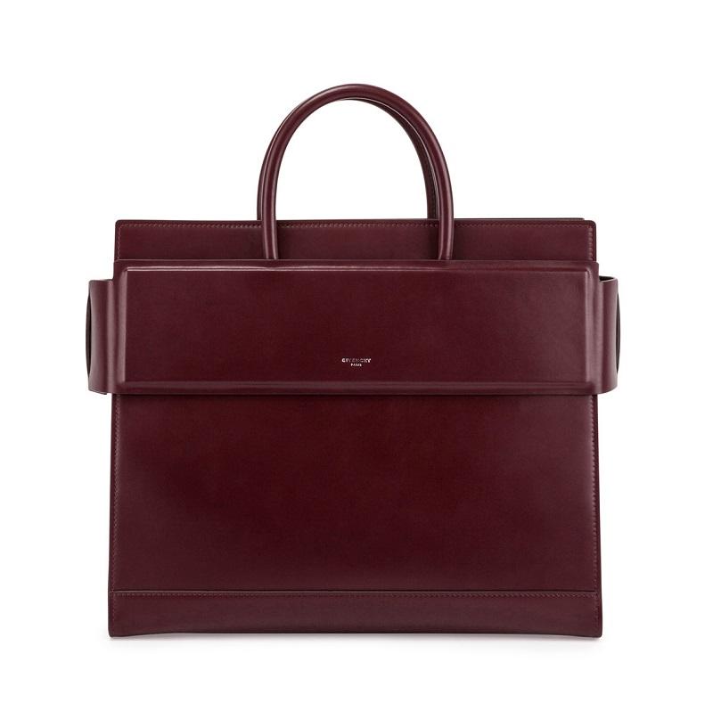 Givenchy Horizon Medium Leather Satchel Bag, Oxblood