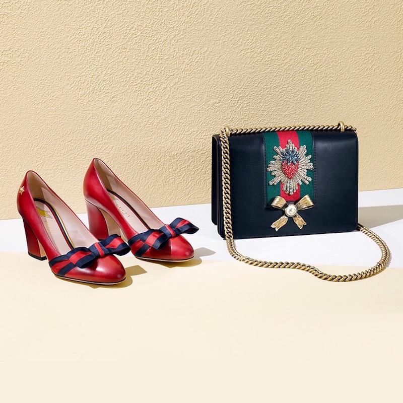 Gucci Aline Grosgrain Bow & Leather Block-Heel Pumps