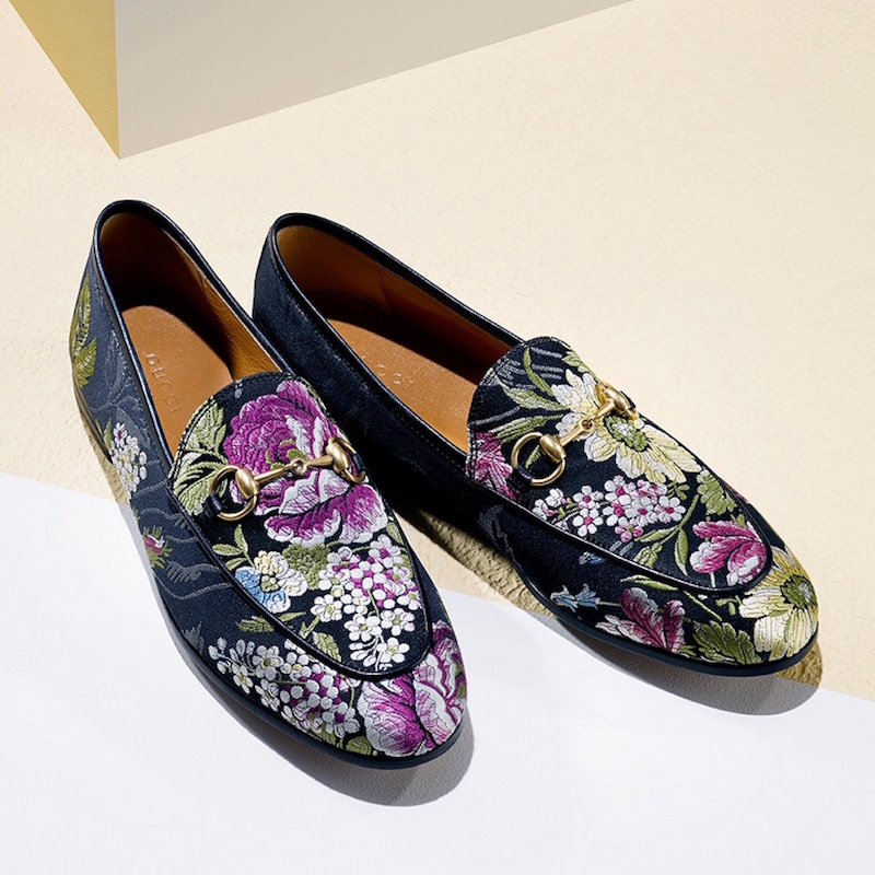 Gucci Jordaan Floral Jacquard Loafers