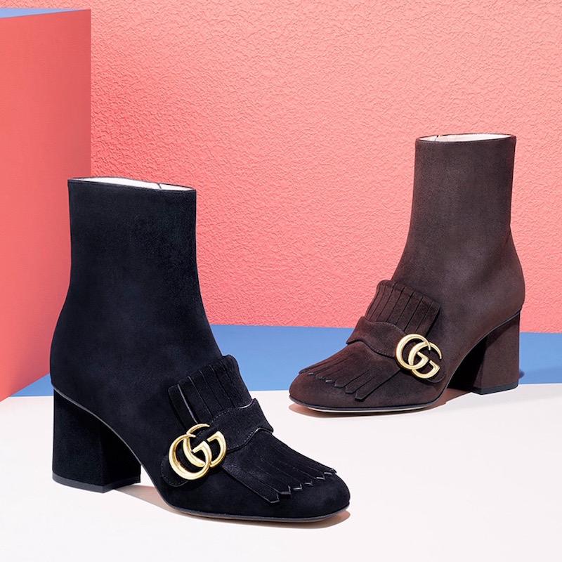 Gucci Marmont GG Suede Block-Heel Booties