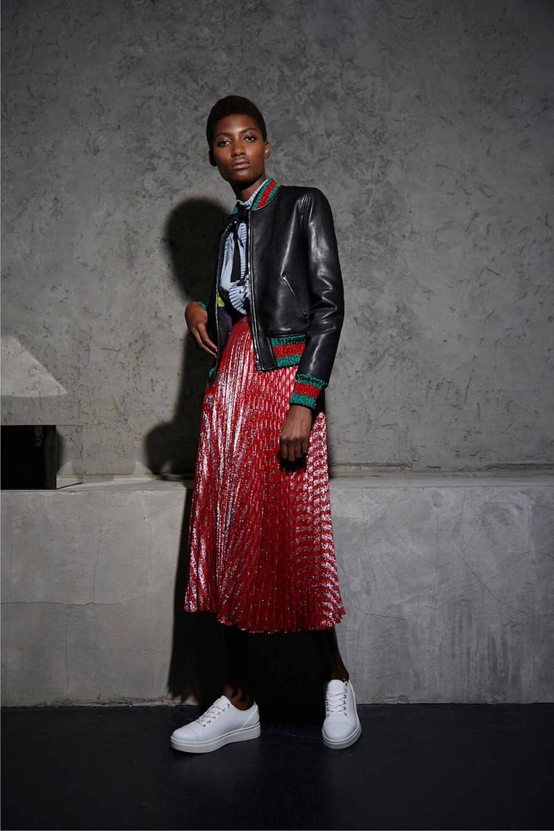 Gucci Mid-length Pleated Lamé Skirt