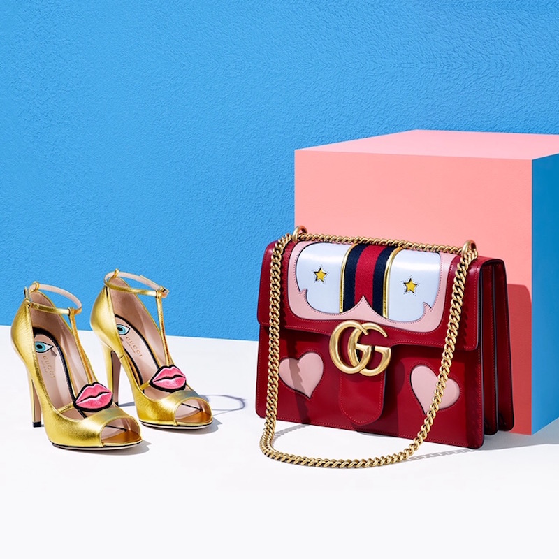 Gucci Molina Metallic Leather Lips T-Strap Pumps