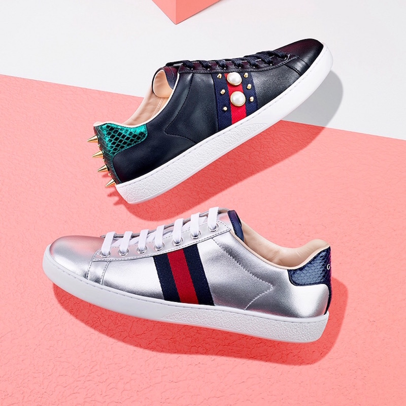 Gucci New Ace Studded Leather Low-Top Sneakers