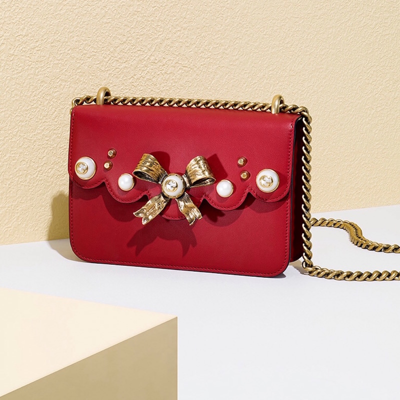 Gucci Peony Small Leather Chain Shoulder Bag