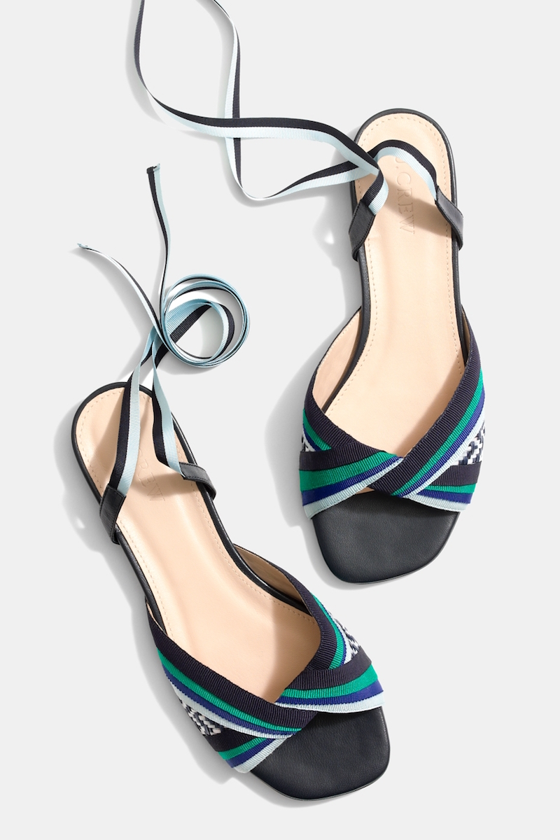 J.Crew Knotted Sandals With Ribbon Ankle Wrap