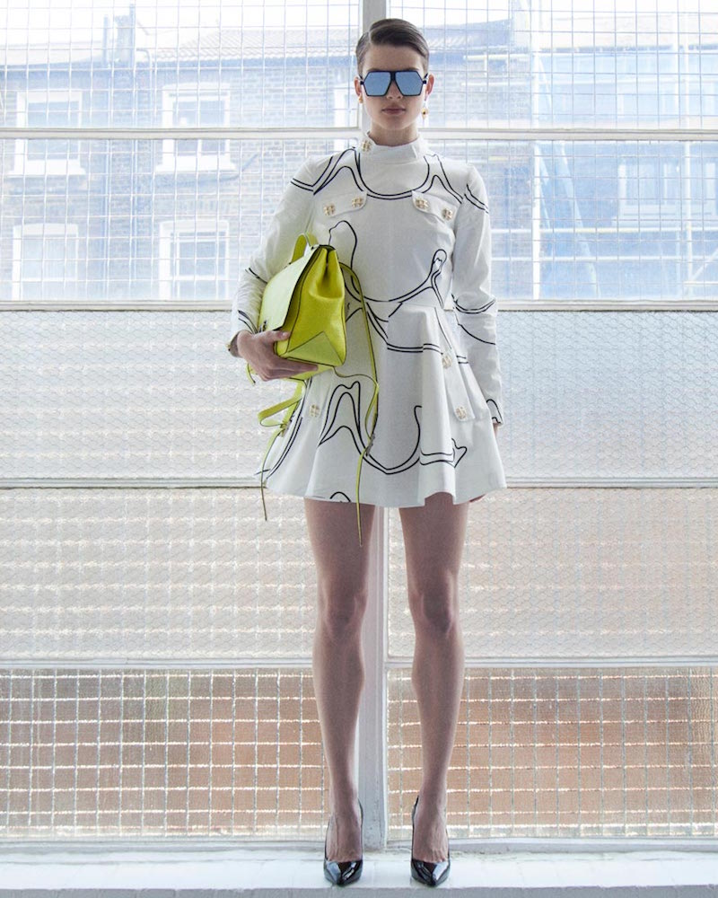 J.W. Anderson Mock Neck Printed Skater Dress