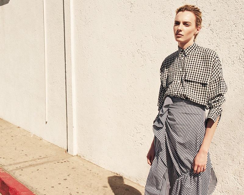 J.W.Anderson Gingham Ruffled Cotton Skirt