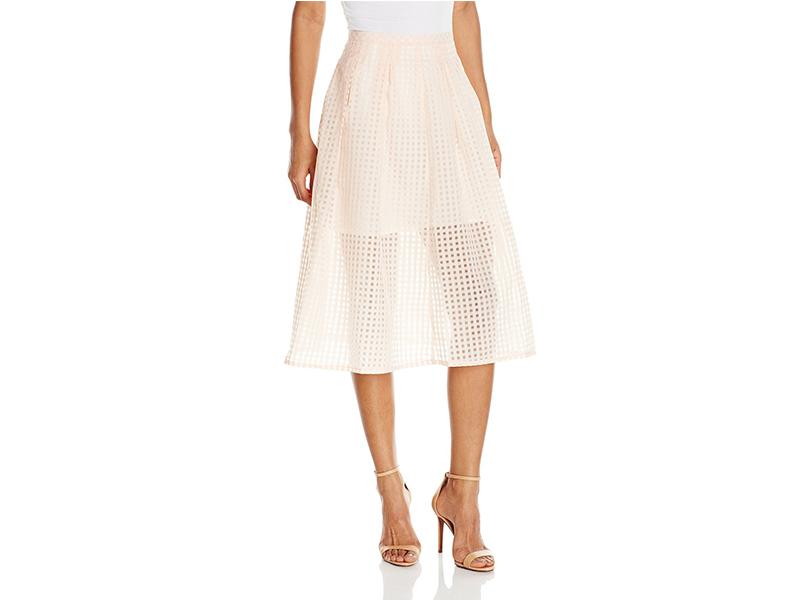 Jack by BB Dakota Clarice Gingham Organza Pleated Midi Skirt