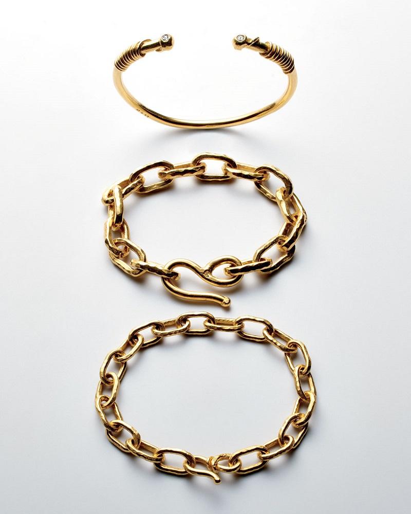 Jean Mahie 22K Gold Spiral Cuff Bracelet
