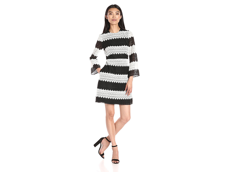 Jill Jill Stuart 3 4 Length Sleeve Lace Two Tone Dress
