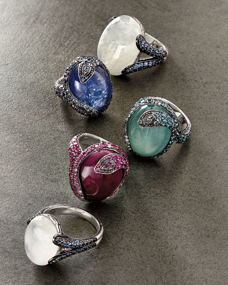 John Hardy Classic Chain Batu Blue Sapphire & Moonstone Ring