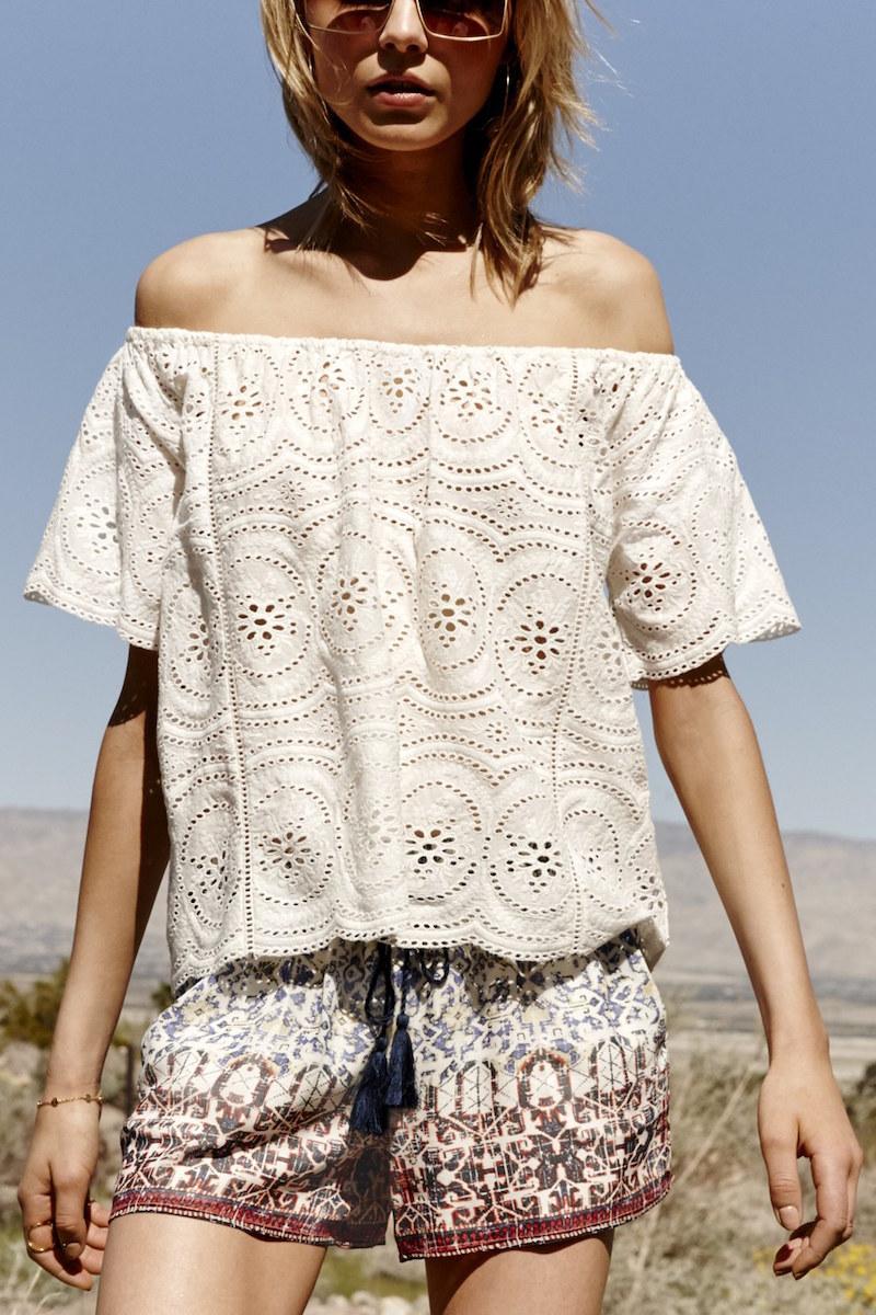 Joie Hannela Off the Shoulder Cotton Lace Top