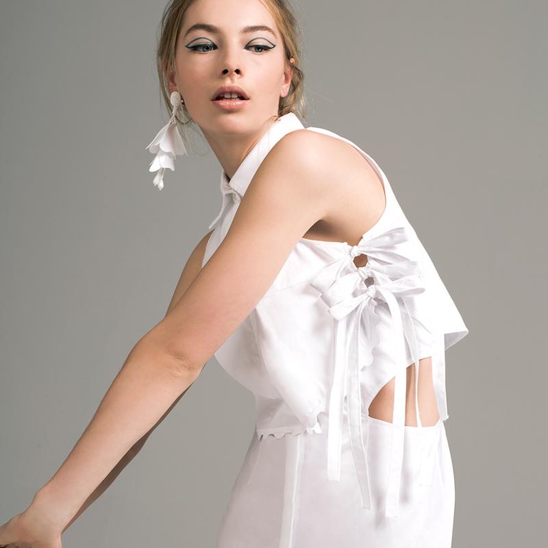 Jonathan Simkhai Side Tie Ruffle Skirt Dress