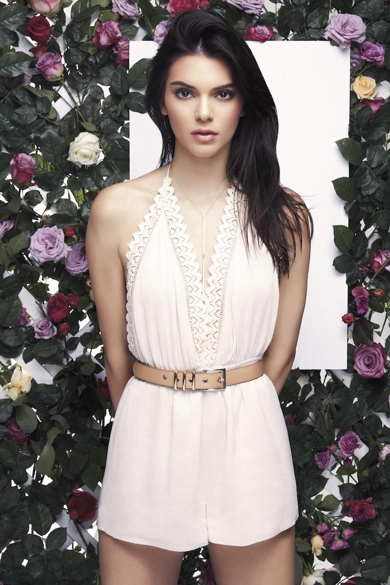 Kendall & Kylie Halter Crochet Trim Romper