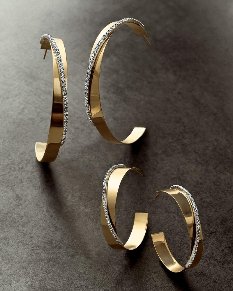 LANA Large Vanity Expose Twisted 14K Gold & Diamond Hoop Earrings