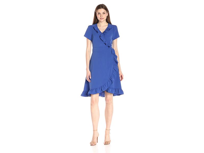 Lark & Ro Cap-Sleeve Wrap Ruffle Dress