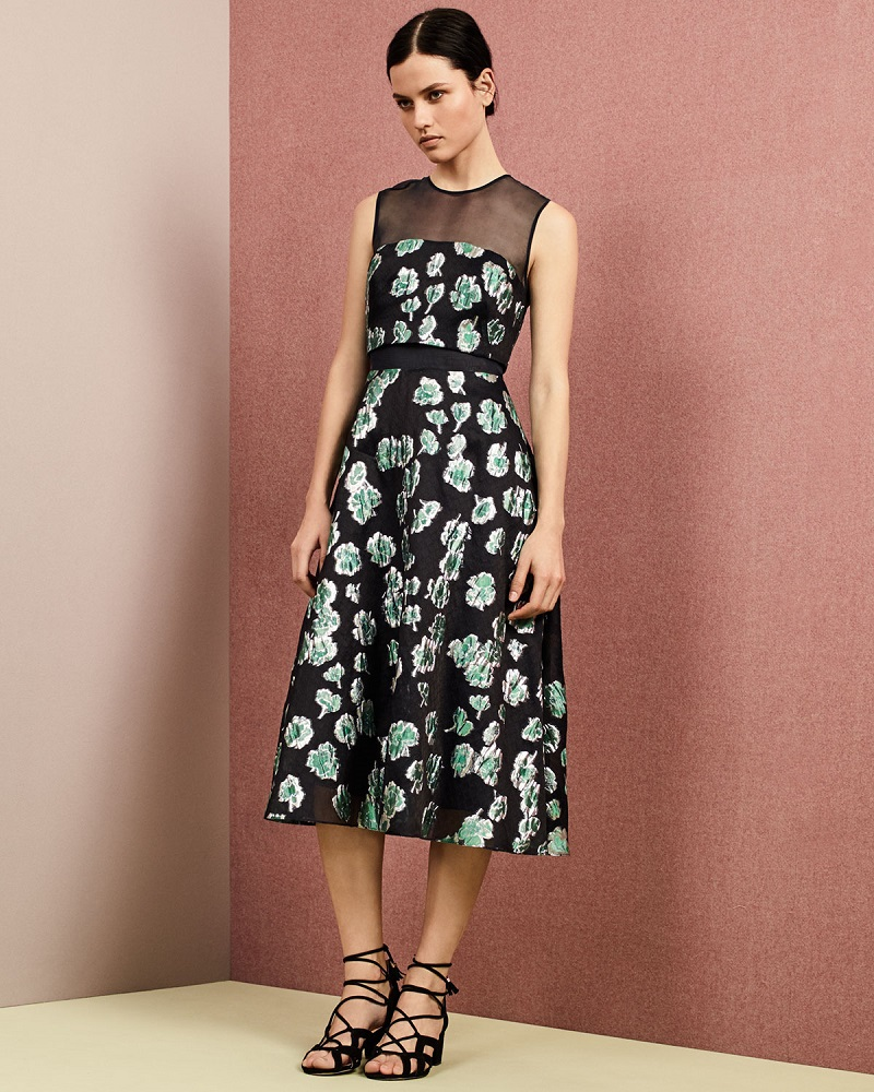 Lela Rose Floral-Print Mesh-Inset Midi Dress