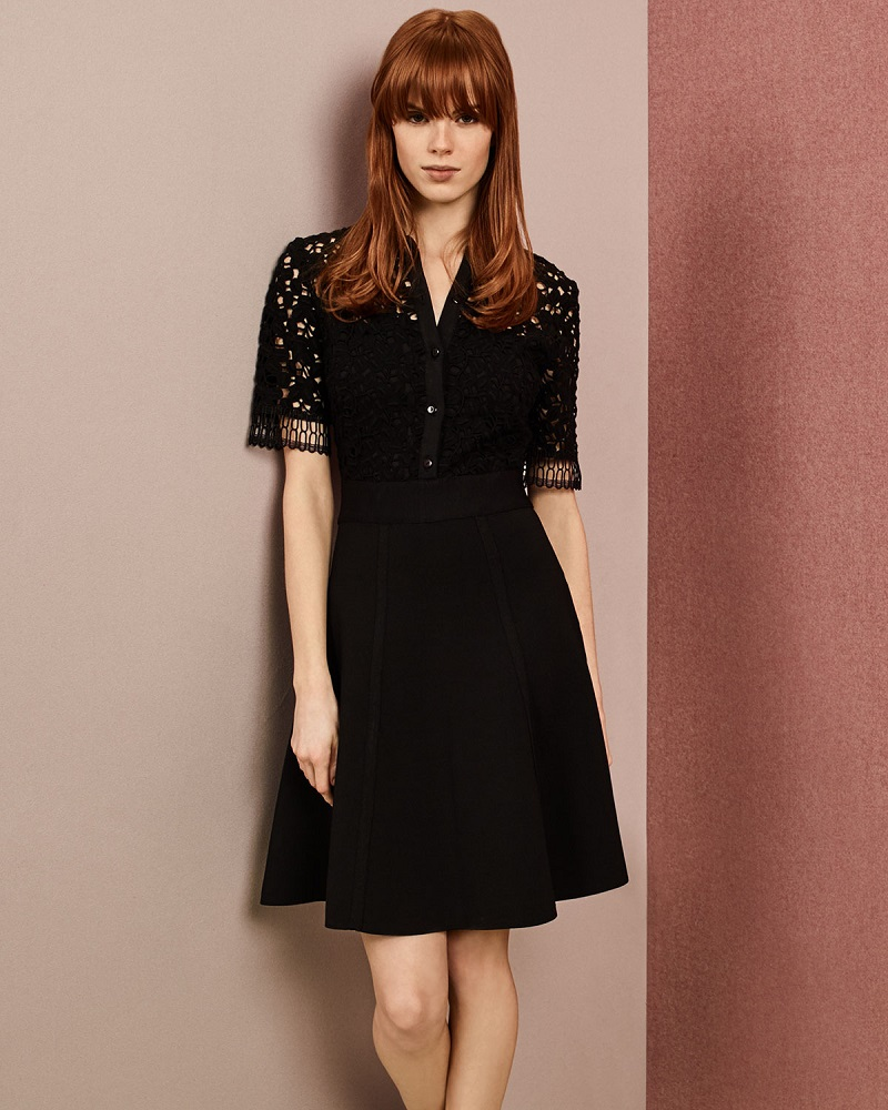Lela Rose Half-Sleeve Lace-Bodice Shirtdress-
