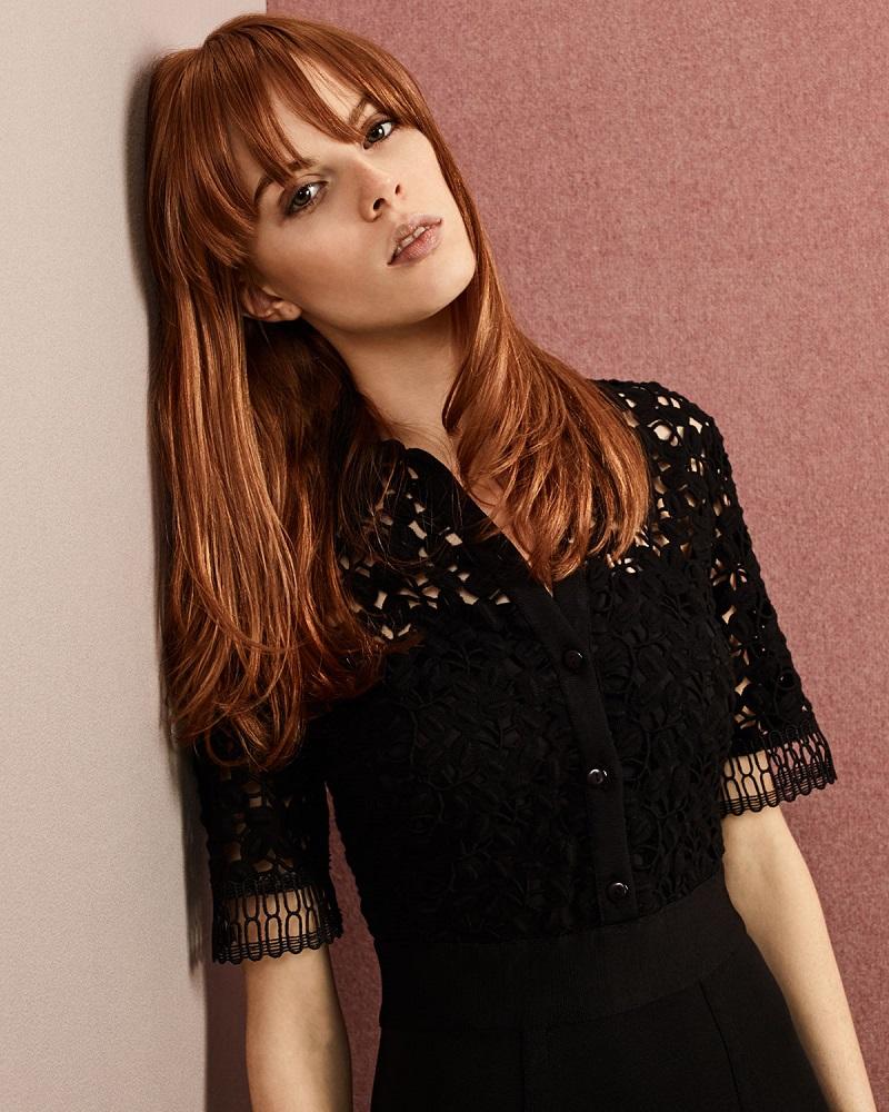Lela Rose Half-Sleeve Lace-Bodice Shirtdress