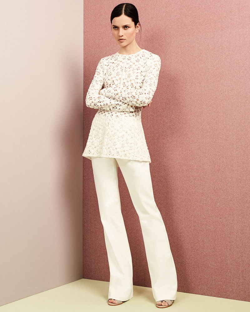 Lela Rose Long-Sleeve Embroidered-Lace Peplum Blouse
