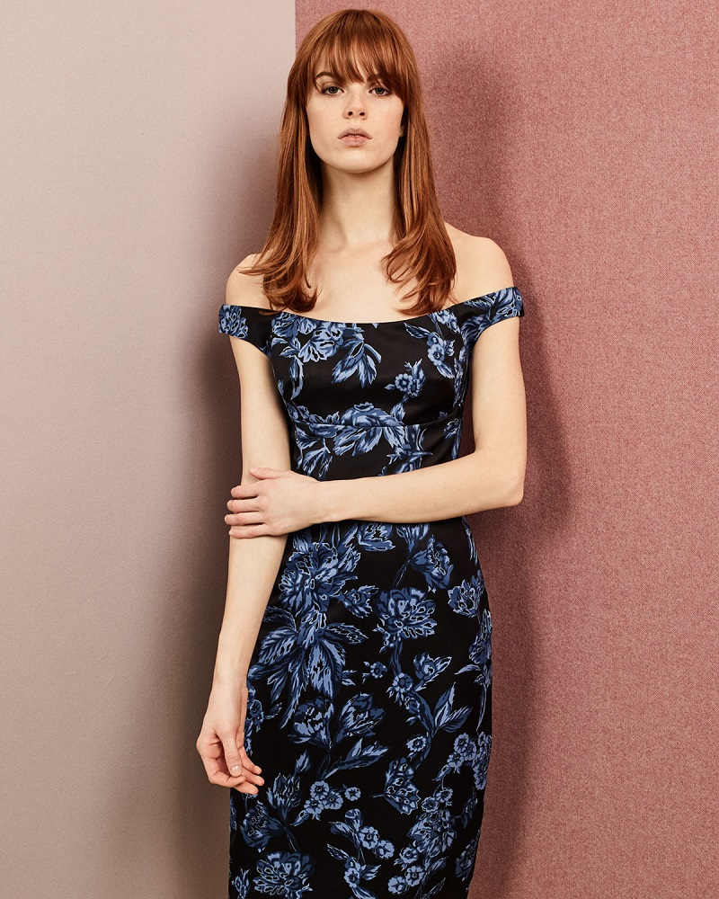 Lela Rose Off-The-Shoulder Floral-Print Sheath Dress