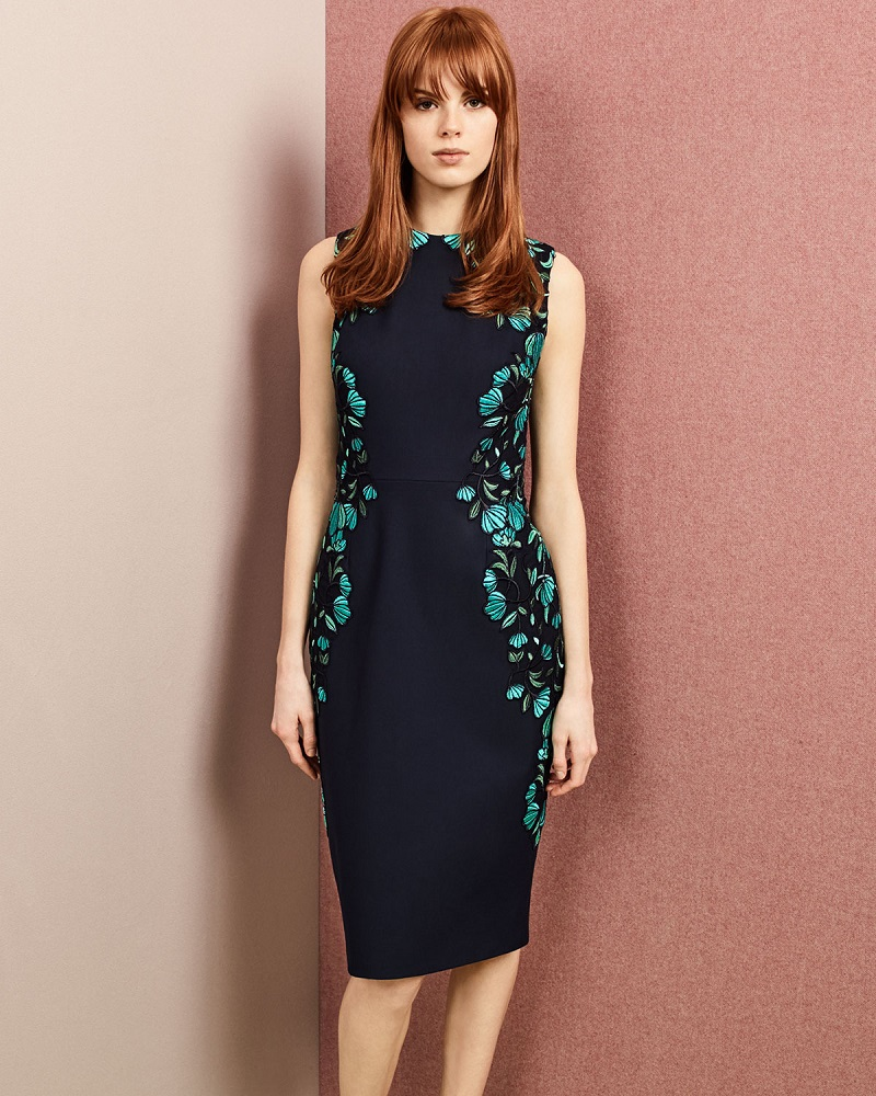 Lela Rose Sleeveless Embroidered Sheath Dress-