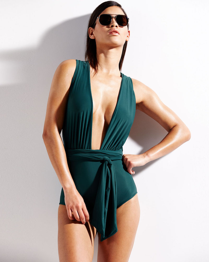 Lenny Niemeyer Chic Plunge-Neck One-Piece Swimsuit