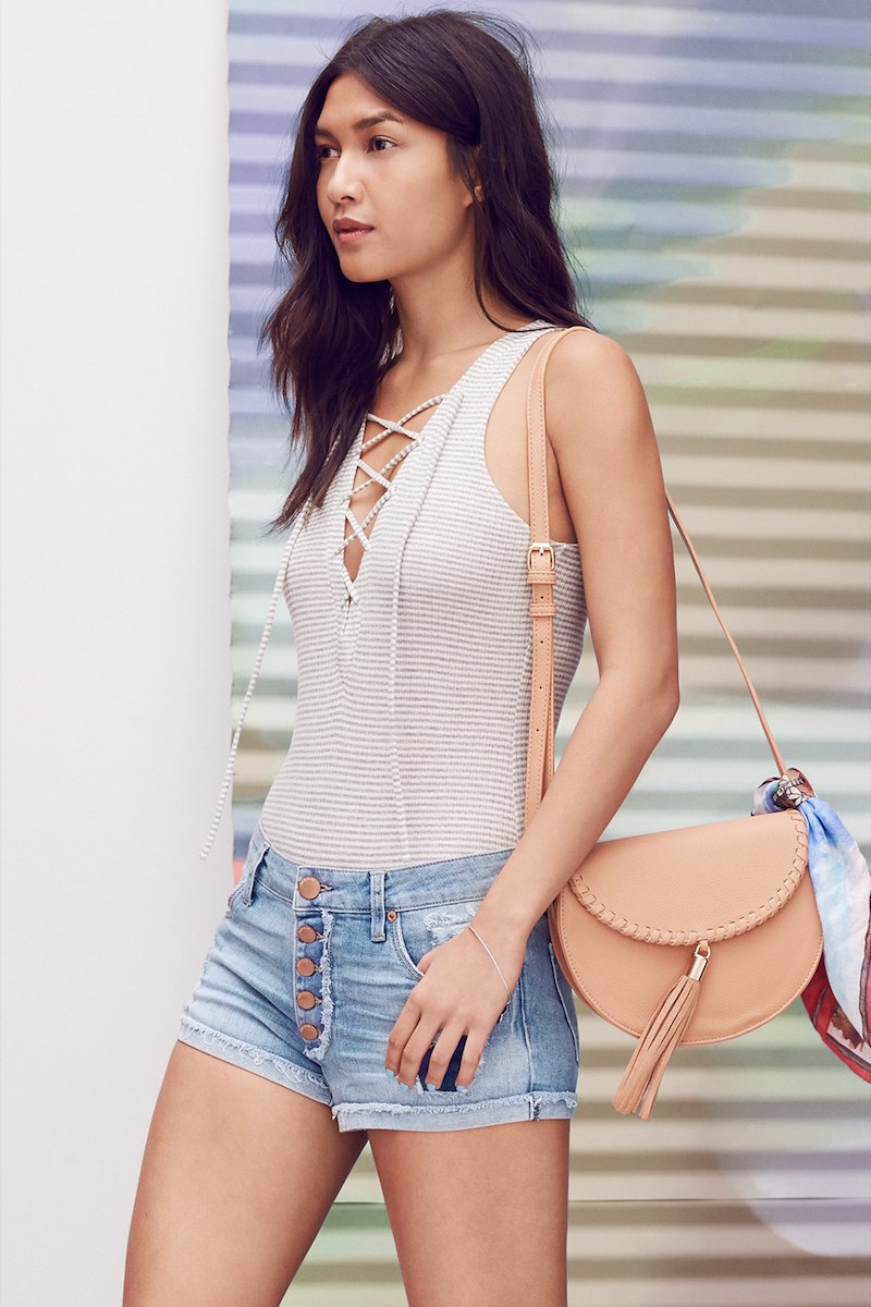 Madison & Berkeley Lace-Up Bodysuit
