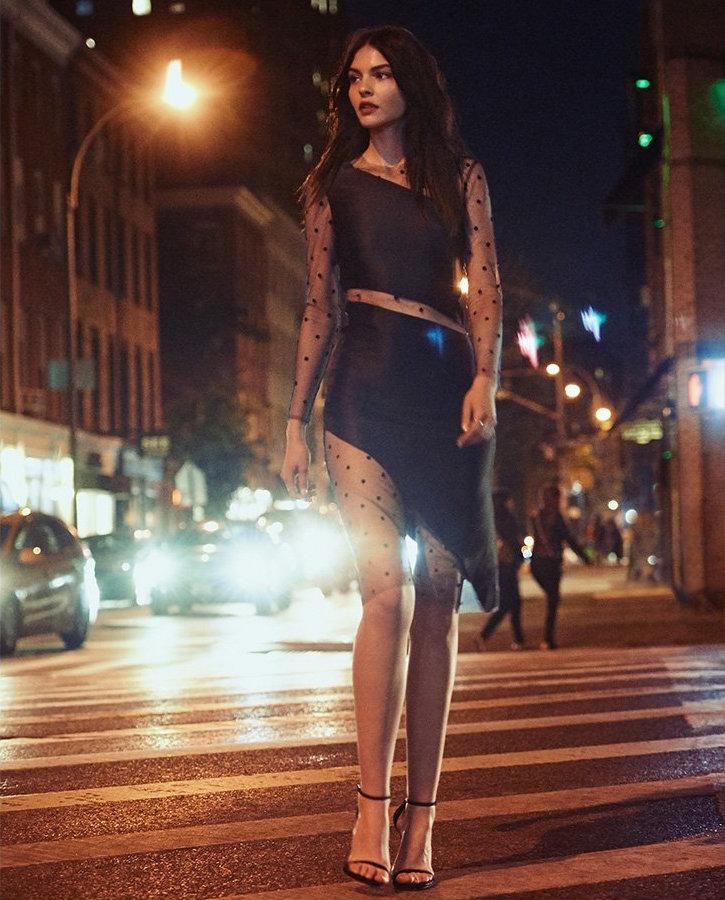 Michelle Mason Long Sleeve Slant Mesh Dress