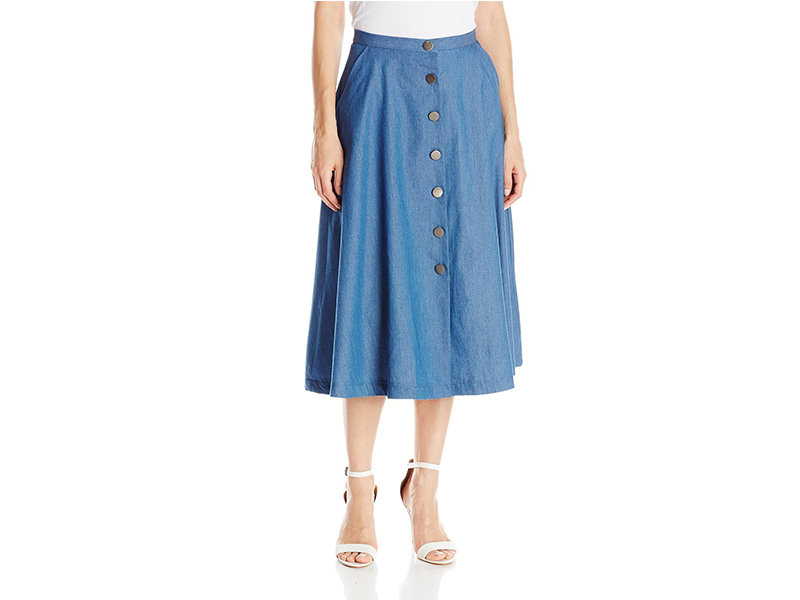 NY Collection Solid Midi Skirt with Antique Silver Buttons