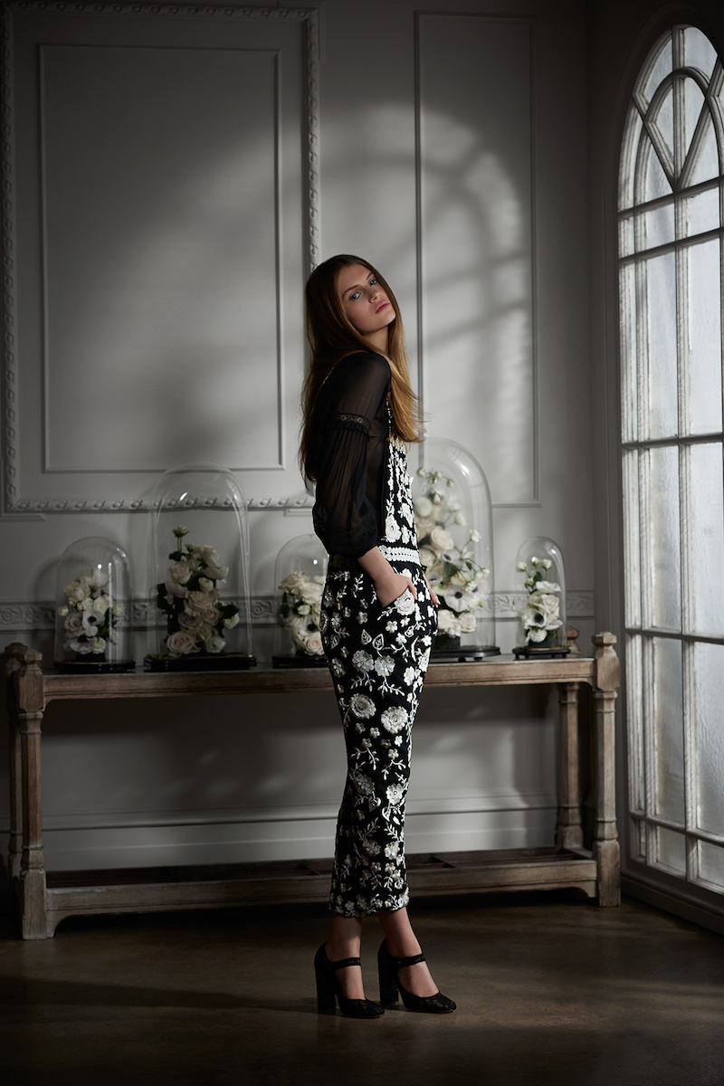 Needle & Thread Floral Lace-Embroidered Dungarees