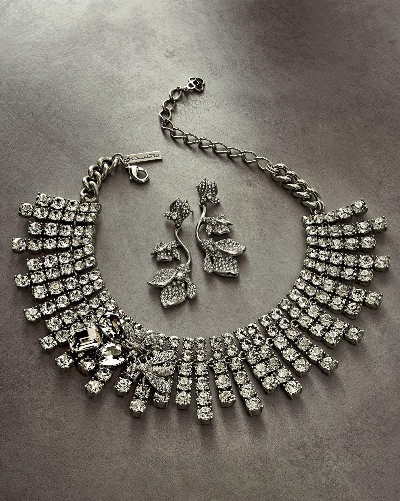 Oscar de la Renta Gradient Crystal Flower Drop Earrings