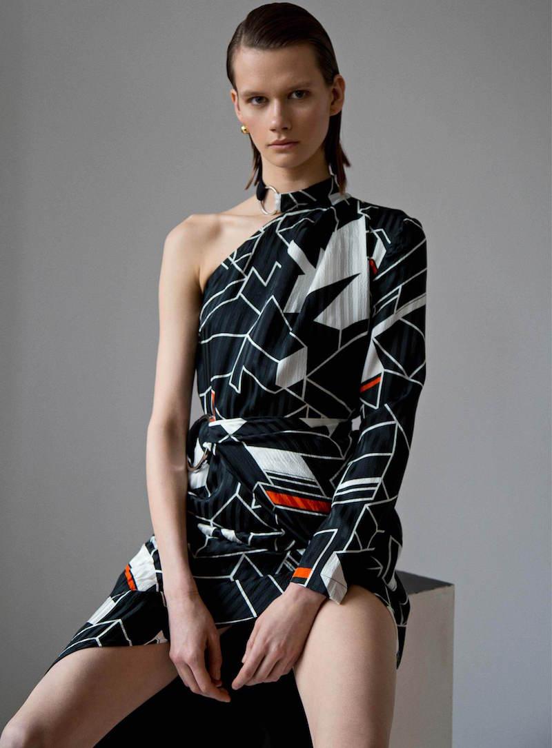 Preen by Thornton Bregazzi Zaha Geometric Print One Shoulder Dress