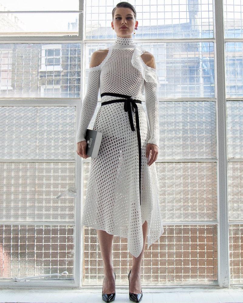 Proenza Schouler Long Off-The-Shoulder Mesh Knit Dress