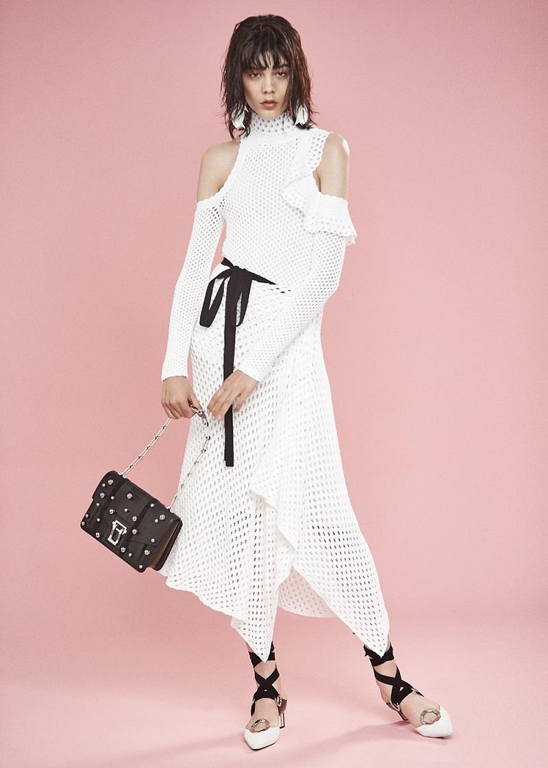 Proenza Schouler Mesh Knit Off Shoulder Dress