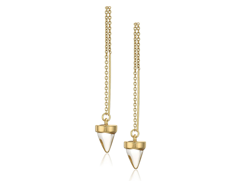 Rebecca Minkoff Acorn Crystal Threader Drop Earrings