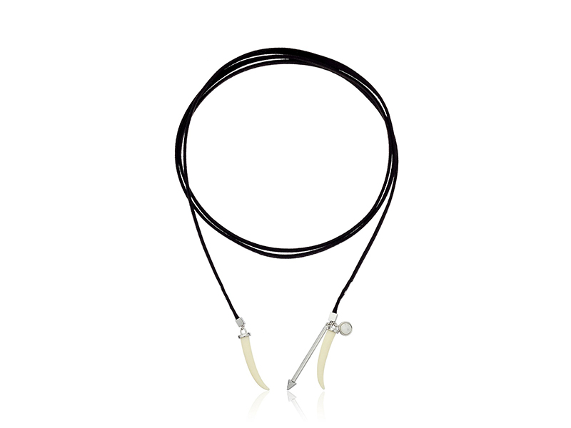 Rebecca Minkoff Tusk Leather Wrap Choker Necklace