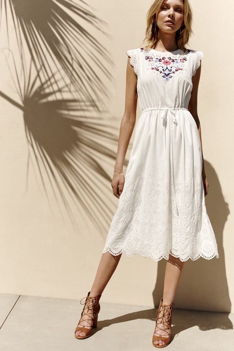 Rebecca Taylor Embroidered Eyelet Cap Sleeve Midi Dress