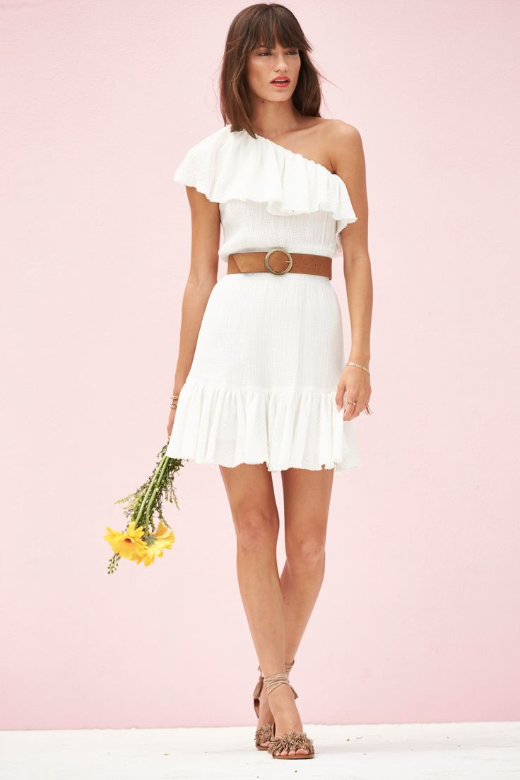 Rebecca Taylor One Shoulder Gauze Mini Dress