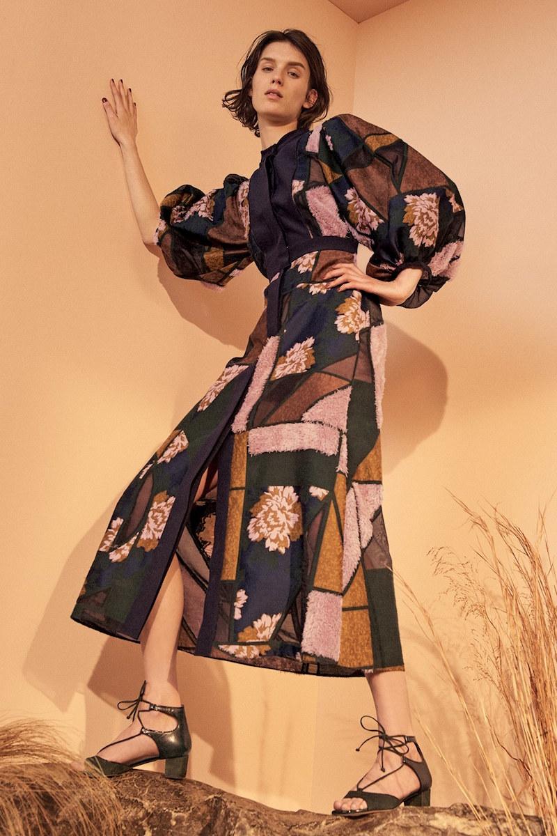 Roksanda Gallen Print Silk Midi Dress