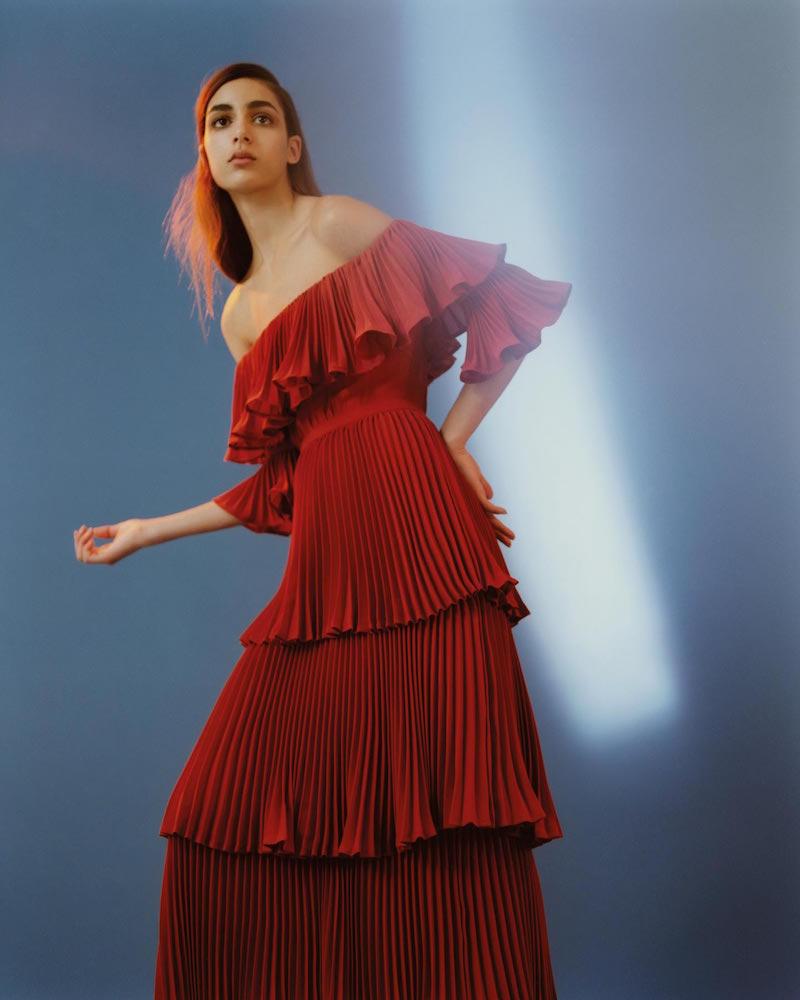 Self-Portrait Flounced Off Shoulder Dress
